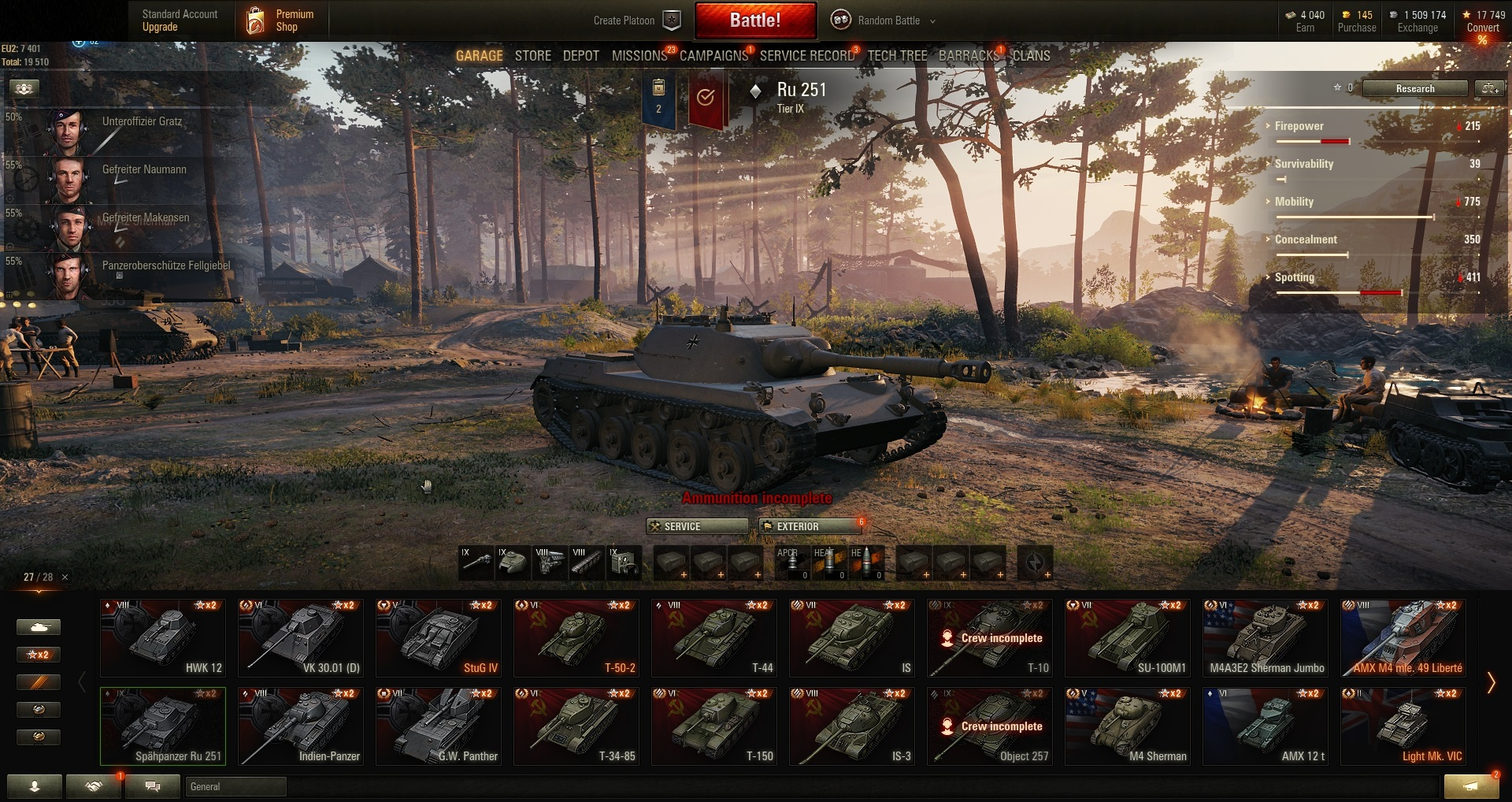 World of Tanks PC EU-Tier IX 3 | VIII 10 | VII 9 | Prem