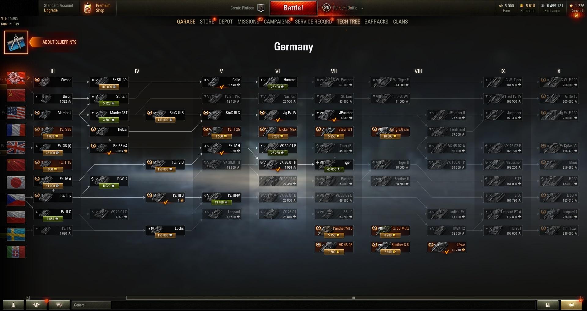 World of Tanks PC EU-Prem  Tank Lowe | Credits: 6 499 131
